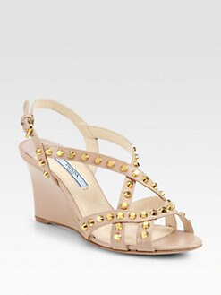 Prada - Studded Saffiano Patent Leather Wedge Sandals