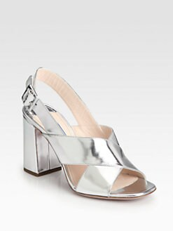 Prada - Metallic Leather Crisscross Sandals