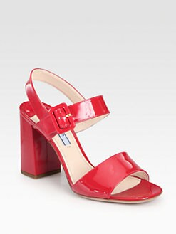 Prada - Patent Leather Double-Strap Sandals