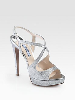 Prada - Glitter Strappy Platform Sandals