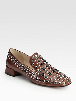 Prada - Embellished Patent Leather Smoking Slippers