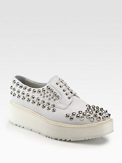 Prada - Studded Leather Lace-Up Platform Oxfords