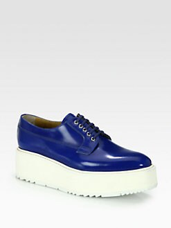 Prada - Spazzolato Leather Lace-Up Platform Oxfords