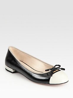 Prada - Vern Saffiano Leather Ballet Flats