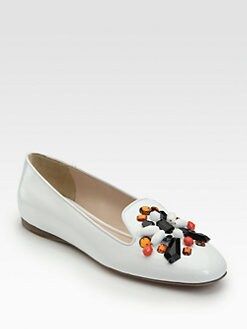 Prada - Patent Leather Stone-Accent Smoking Slippers