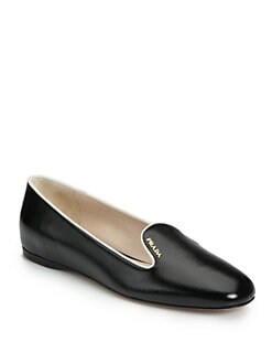 Prada - Saffiano Leather Smoking Slippers