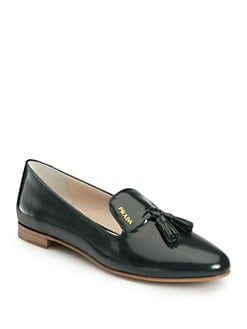 Prada - Patent Leather Tassel Smoking Slippers