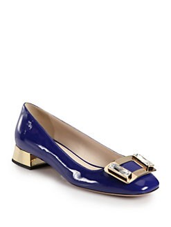 Prada - Embellished Patent Leather Pumps