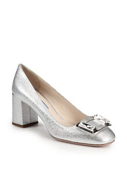 Prada - Embellished Metallic Leather Pumps