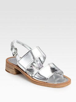 Prada - Metallic Leather Double-Strap Slingback Sandals
