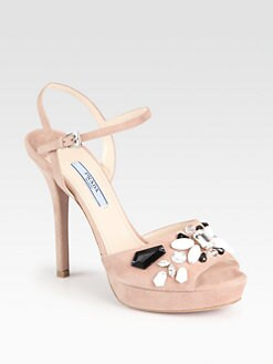 Prada - Suede Stone-Accent Sandals