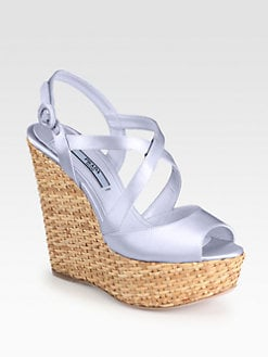 Prada - Satin Wicker Platform Wedges