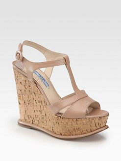 Prada - Saffiano Patent Leather Platform Cork Wedge Sandals