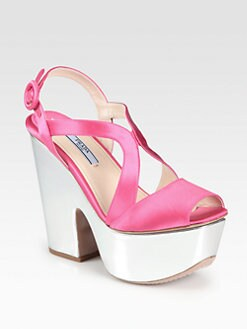 Prada - Satin & Metallic Leather Platform Sandals