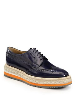 Prada - Wing-Tip Platform Espadrille Oxfords