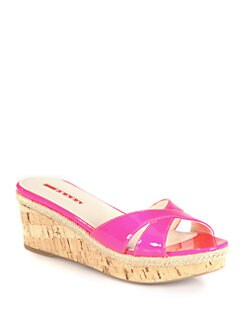 Prada - Patent Leather Cork Wedge Espadrille Slides
