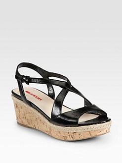 Prada - Leather Cork Wedge Sandals