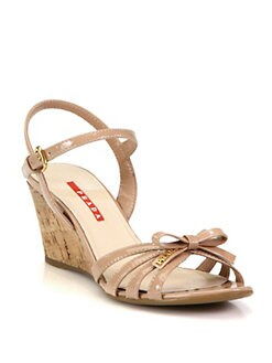Prada - Leather Bow Cork Wedge Sandals