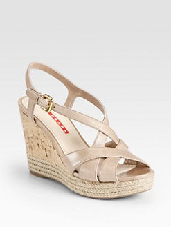 Prada - Strappy Leather Cork & Espadrille Wedge Sandals