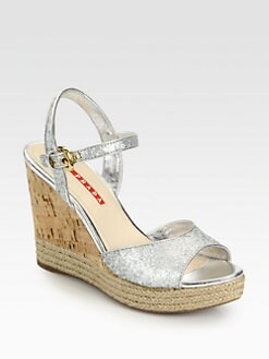 Prada - Glitter Cork Wedge Sandals