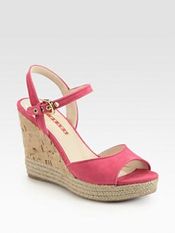 Prada - Suede Cork Wedge Sandals