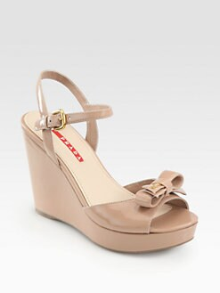 Prada - Patent Leather Bow Wedge Sandals