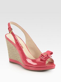 Prada - Patent Leather Bow Espadrille Wedge Sandals