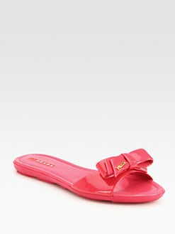Prada - Patent Leather Bow Sandals