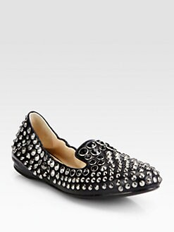 Prada - Studded Leather Smoking Slippers
