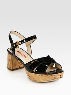 Prada - Crisscross Patent Leather Cork Heel Sandals