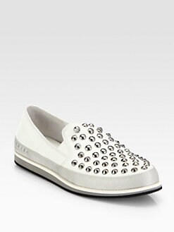 Prada - Studded Leather & Canvas Sneakers