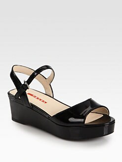 Prada - Patent Leather Platform Sandals