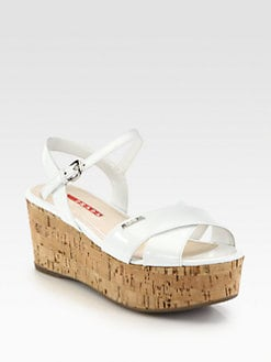 Prada - Patent Leather Cork Wedge Sandals
