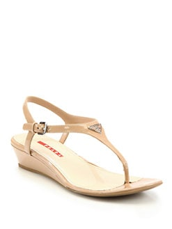 Prada - Patent Leather Thong Wedge Sandals