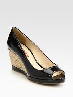 Prada - Patent Leather Raffia Wedge Pumps