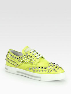 Prada - Studded Patent Leather Lace-Up Sneakers