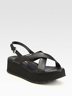 Prada - Leather Crisscross Wedge Sandals