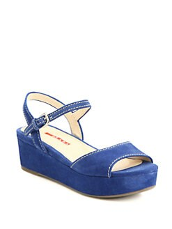 Prada - Suede Platform Wedge Sandals