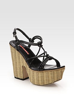 Prada - Leather Raffia Platform Sandals