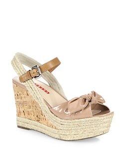 Prada - Patent Leather Bow Cork Wedge Sandals