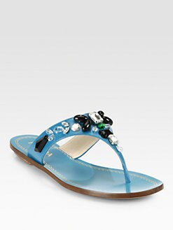 Prada - Jeweled Saffiano Leather Thong Sandals