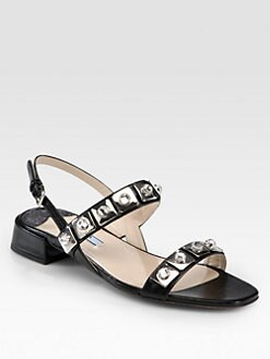 Prada - Jeweled Saffiano Leather Sandals