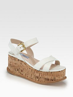 Prada - Saffiano Patent Leather Cork Wedge Sandals