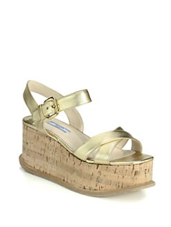 Prada - Saffiano Metallic Leather Cork Wedge Sandals