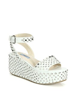 Prada - Studded Leather Wedge Sandals