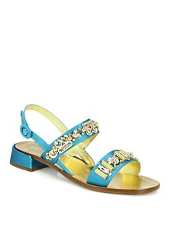 Prada - Crystal-Beaded Satin Sandals