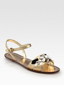 Prada - Jeweled Saffiano Metallic Leather Sandals