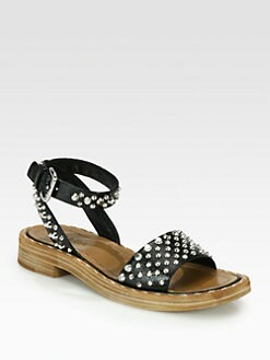 Prada - Studded Saffiano Leather Sandals