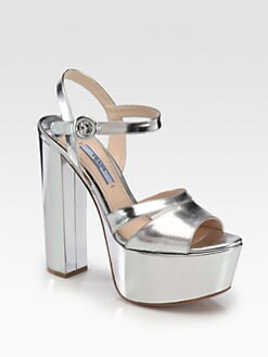 Prada - Metallic Leather Platform Sandals