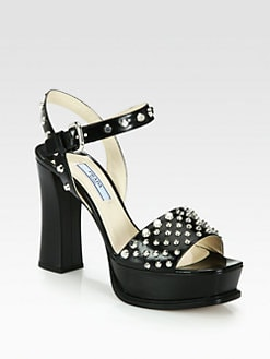 Prada - Studded Leather Platform Sandals